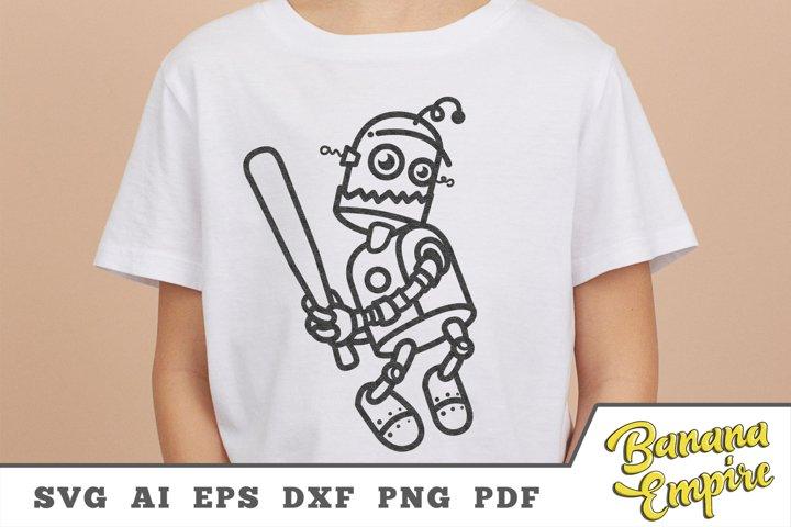 Robot Baseball svg, robot cute Cut File, love baseball svg