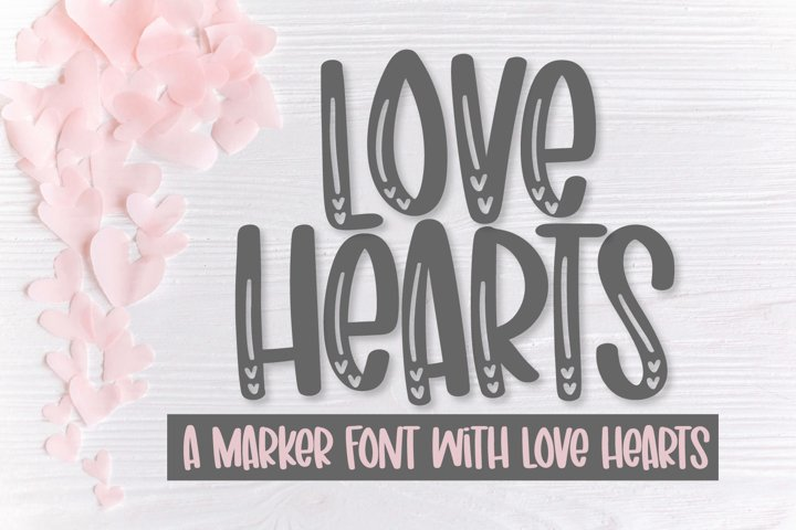 Love Hearts - A marker font with love hearts