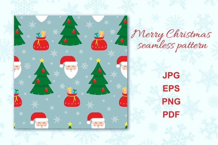 Christmas retro seamless pattern with Santa Claus.