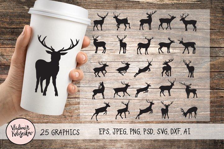 Deer silhouette set 25 object.