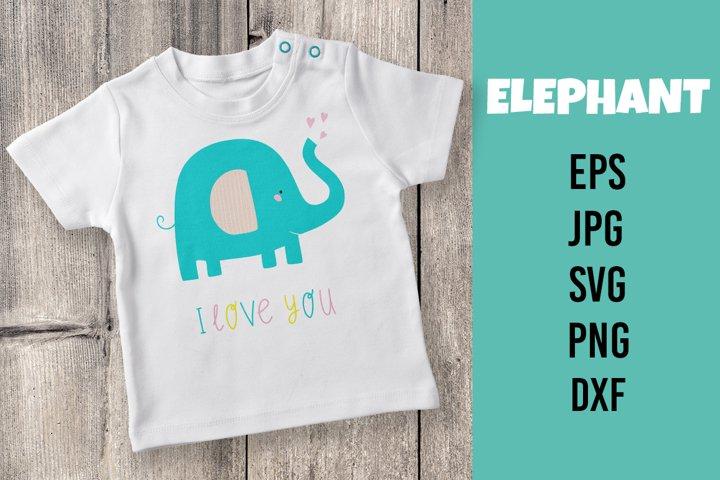 Cute elephant. Vector flat illustration. SVG/PNG/DXF/EPS/JPG