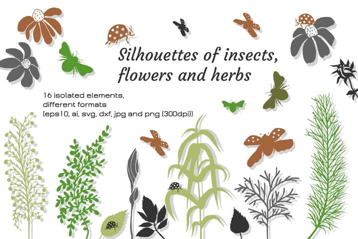 Digital silhouettes of flowers and insects in SVG, EPS10 ets