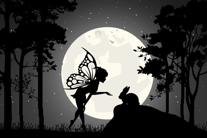 cute fairy and rabbit silhouette