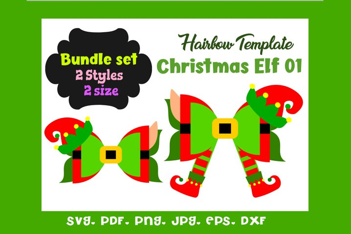 Christmas Elf 01 - Two 2 Style & 2 Sizes Hair Bow Template