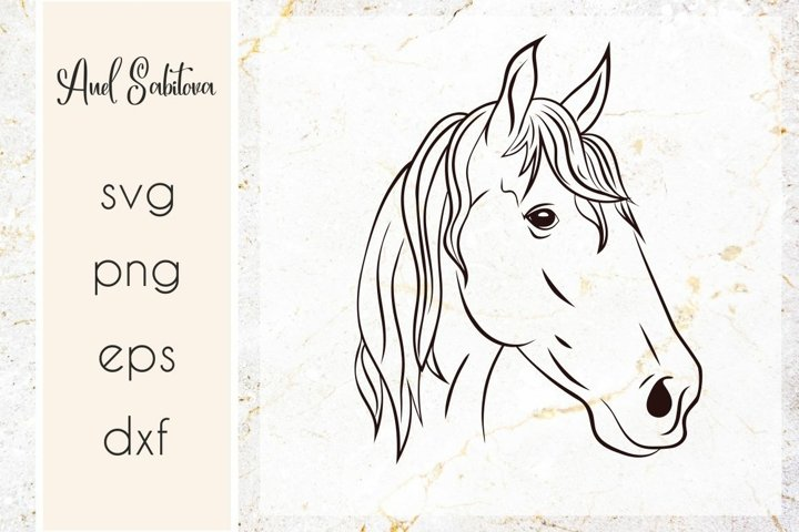 hand drawn horse svg, horse line art vector illusration