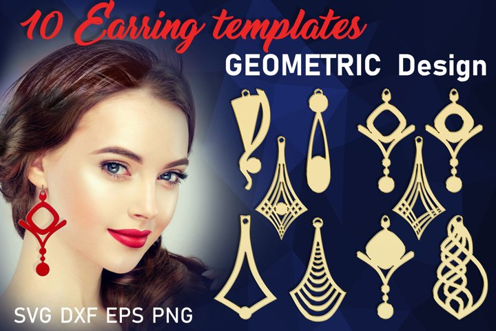 10 Leather Geometric earrings svg Necklace svg