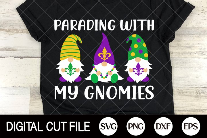 Mardi Gras Svg, Gnome cut file, Parading With My Gnomies Dxf