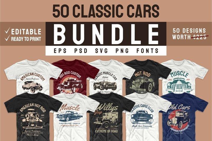 Car T-shirt Design Bundle SVG Vintage Bundles PNG Editable