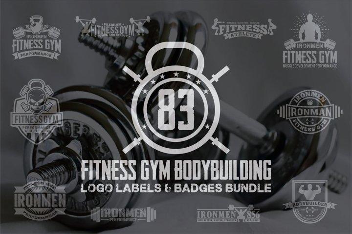 83 fitness gym bundle Logos Labels & Badges