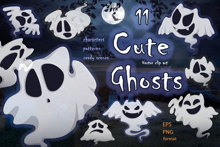 Cute ghosts. Halloween characters collection.