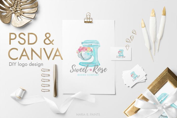 Bakery Logo for Canva and Photoshop, DIY Business logo