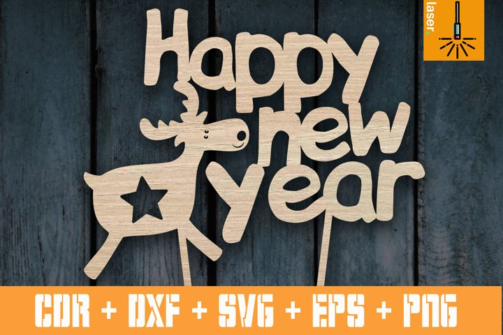 Happy New Year cake topper | Christmas decorations