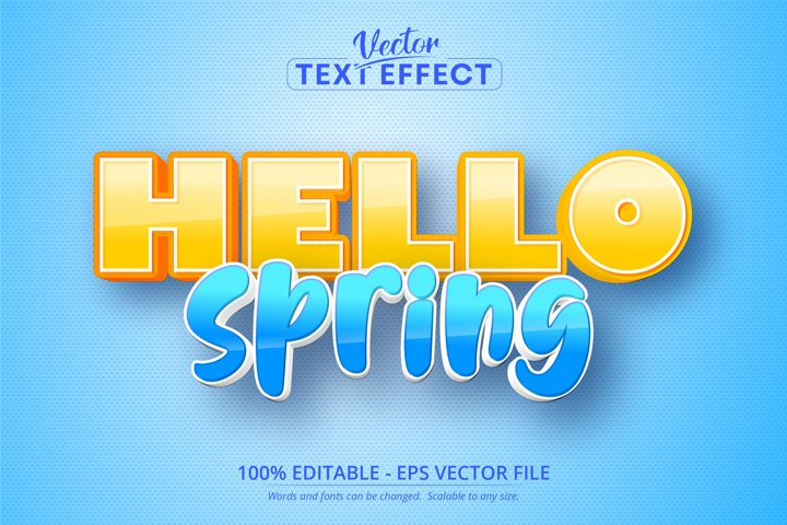 Hello spring text, cartoon style editable text effect