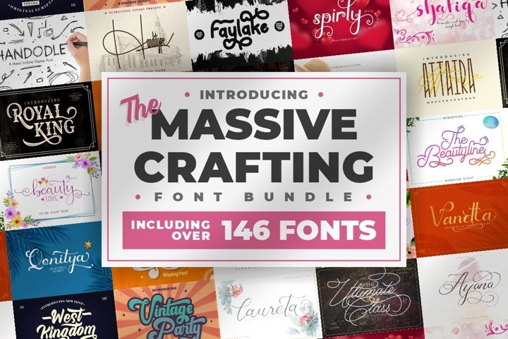 The Massive Crafting Display Font Bundle - 146 Fonts!!