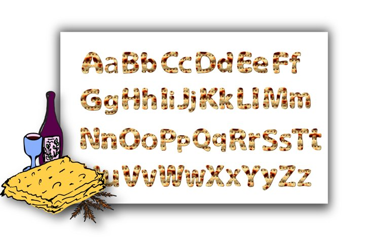 Alphabet English with matzo texture. Font matzah. Graphic