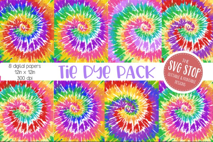 Bright Rainbow Tie Dye Digital Paper Backgrounds example