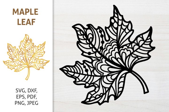Zentangle Maple Leaf SVG, Fall Thanksgiving cut file