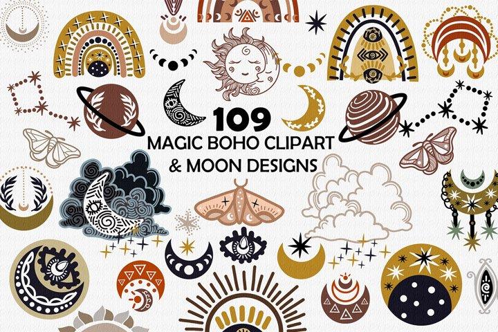 Magic boho clipart & moon designs