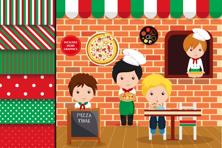Pizza party boy illustration, Pizza party boy digital papers