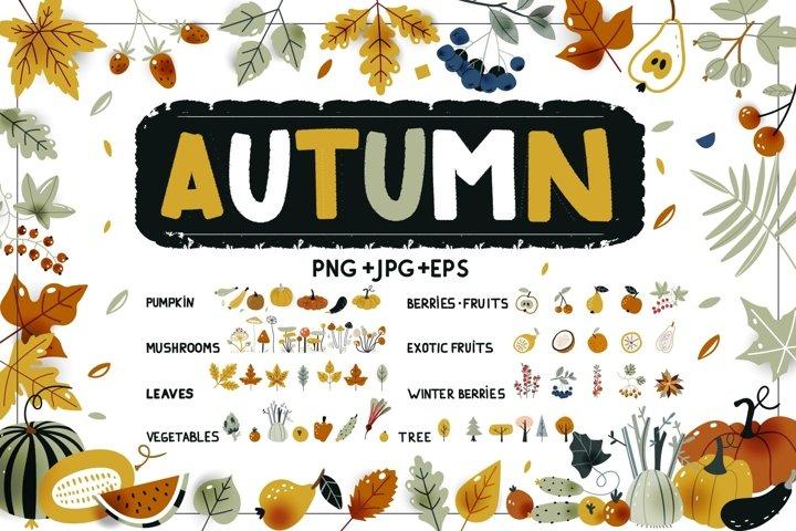 Autumn harvest, fruits, vegetables.