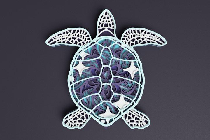 Cosmic Sea Turtle Mandala Laser Cut File