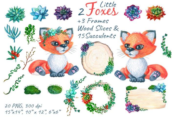 Fox Woodland Watercolor Nursery Png