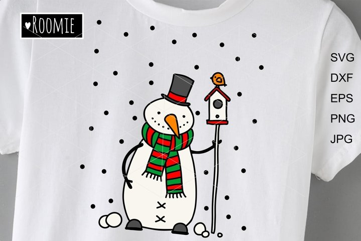 Merry Christmas Snowman with birdhouse svg files, Winter svg