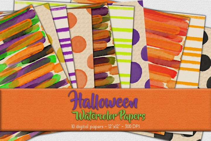 Halloween Watercolor Digital Paper Set