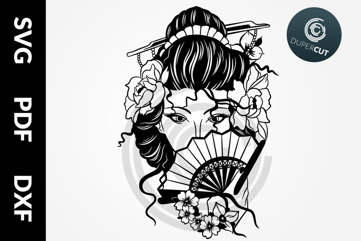 SVG / PDF / DXF Japanese Geisha, Papercutting Template