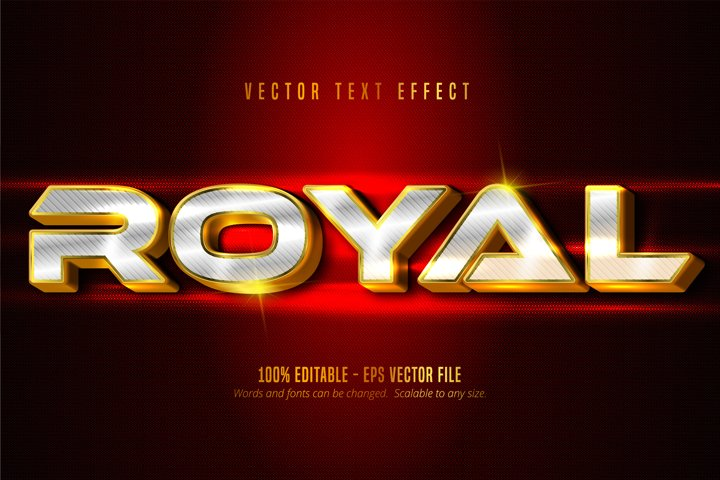 Royal text, luxury golden and silver editable text effect