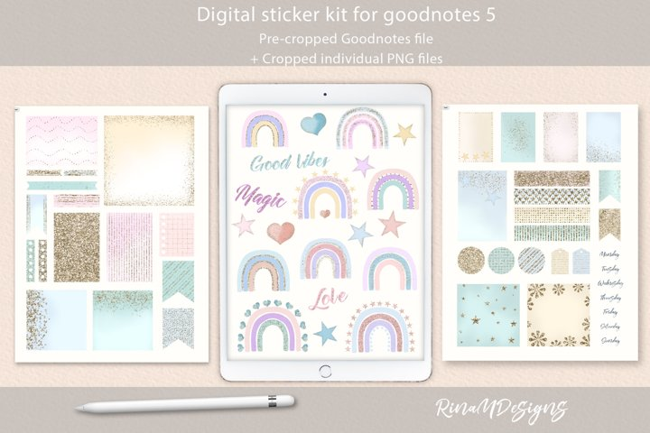 Digital planner stickers for Goodnotes. Rainbow