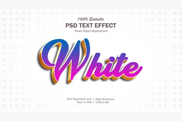 3D White Text Effect