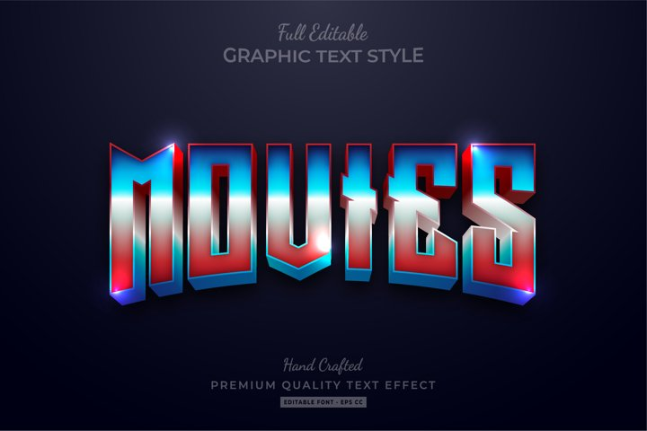 Movies 80s Retro Gradient Editable Text Style Effect