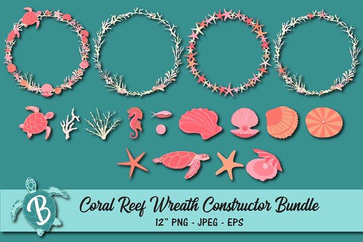 Coral Reef Wreath Constructor Elements Bundle