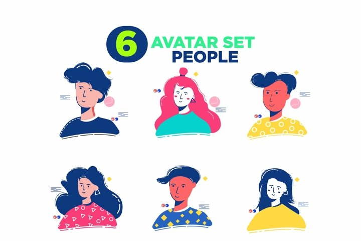 6 icon set avatar people