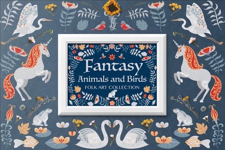 FANTASY ANIMALS AND BIRDS. FOLK ART COLLECTION