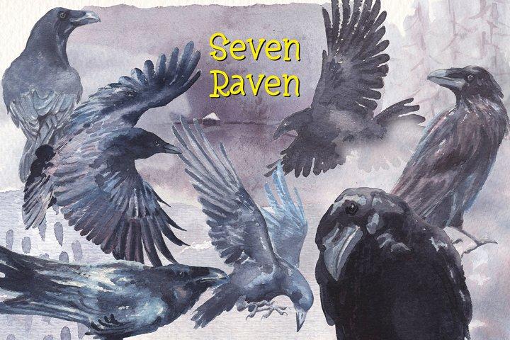 seven ravens watercolor clipart