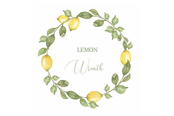 Watercolor Lemon wreath clipart, Citrus wreath PNG