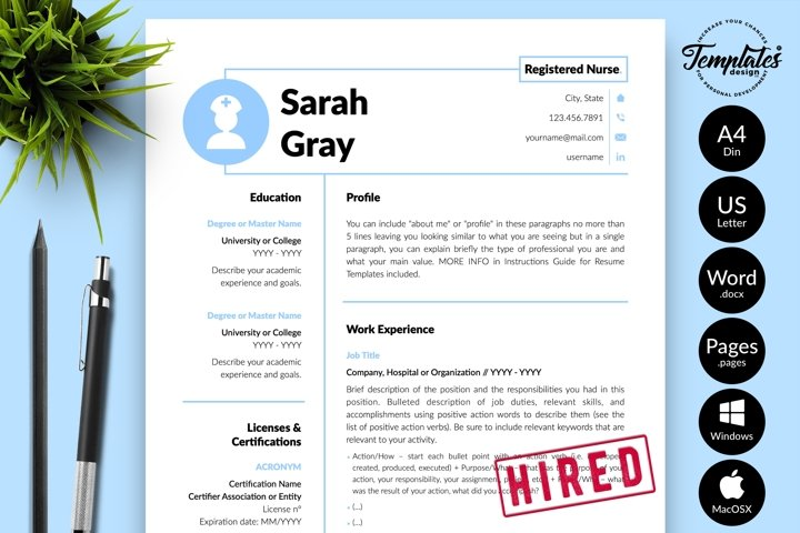 Nurse Resume CV Template for Word & Pages Sarah Gray