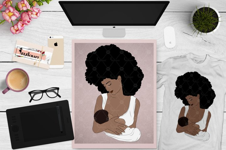 Afro Woman, Mommy and me, Mother and baby SVG Cut File