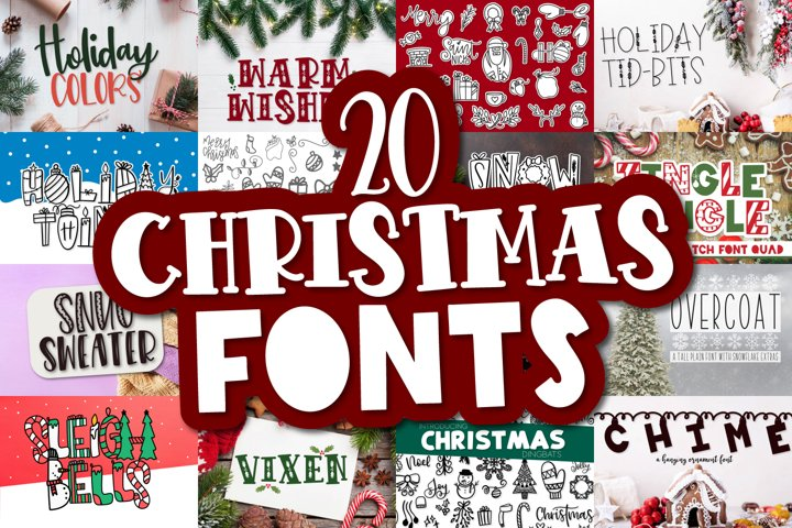 20 Christmas Fonts - A Christmas Font Bundle!
