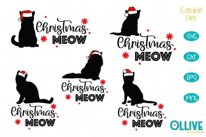 Cats Christmas Meow Bundle SVG