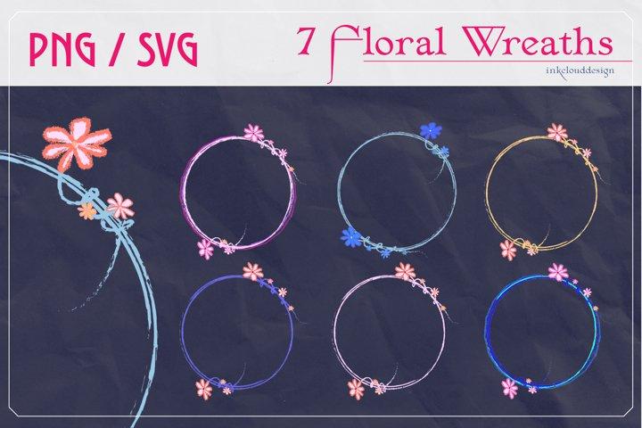 Bundle Floral Wreath Monogram Circle Flowers Cute SVG PNG