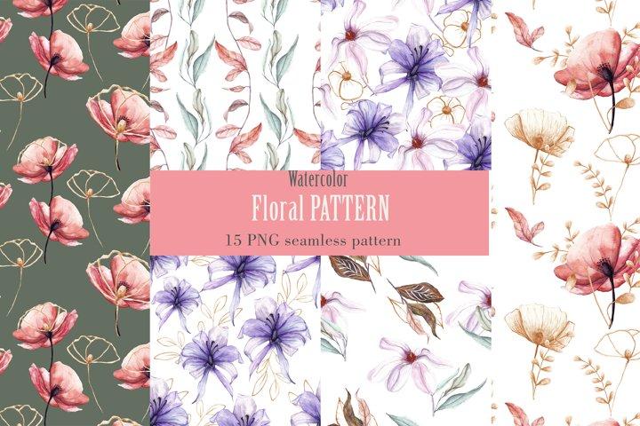 Floral PATTERN.Watercolor pattern.