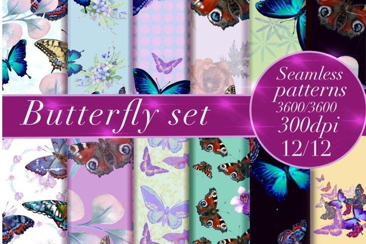 Butterflies Digital Paper.Seamless pattern.