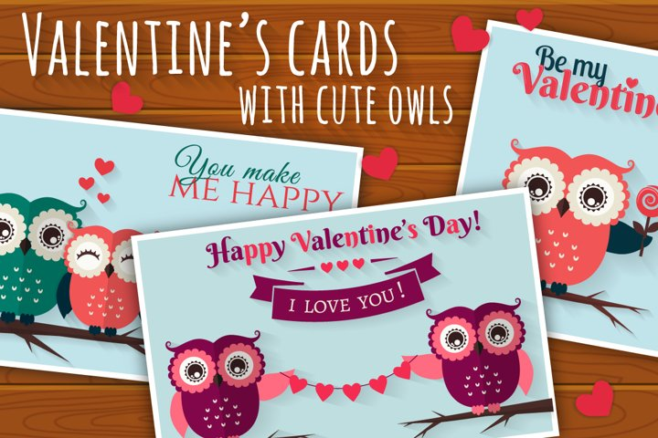 Valentines cards with cute owls