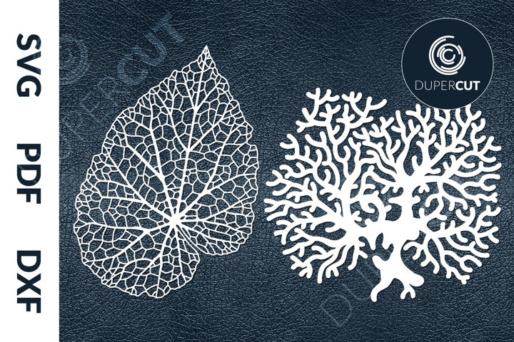 SVG / PDF / DXF Corals Leaves, Papercutting Template