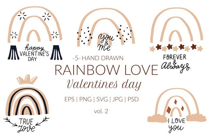 Boho rainbow valentines quotes svg