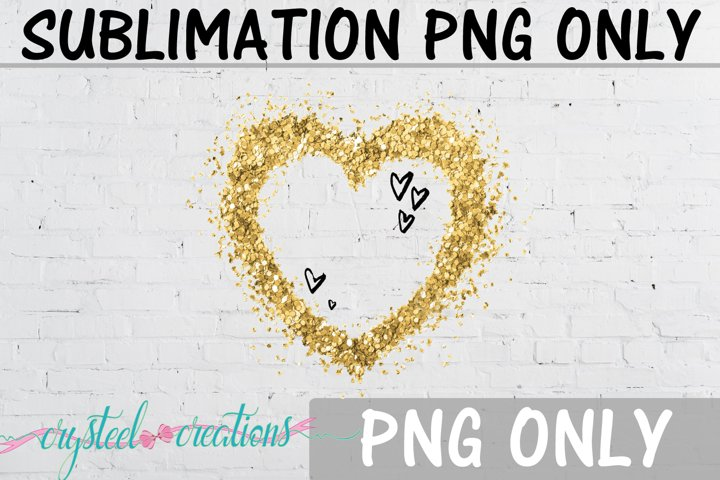 Sublimation Gold Glitter Heart PNG Only
