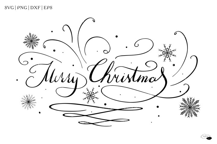 Merry Christmas SVG quote, Silhouette, Phrase, PNG, EPS, DXF